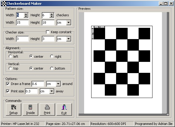 Adrian Ilie's Homepage - Checkerboard Maker